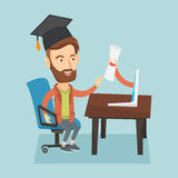 Graduate getting diploma from the computer. Stock Photo