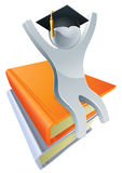 Graduate on giant books Royalty Free Stock Photography