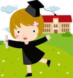 Graduate Girl. Cute graduate Girl -illustration art Stock Photos