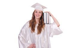 Graduate girl with books Stock Photos