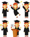 Graduate girl character set Stock Image