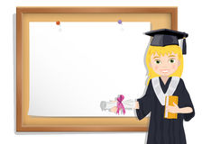 Graduate girl and cork board with paper Royalty Free Stock Photos