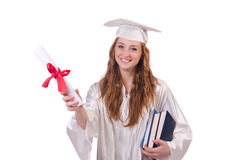 Graduate girl with diploma and books Royalty Free Stock Photos