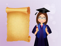Graduate girl with diploma Royalty Free Stock Photo