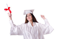 Graduate girl with diploma  isolated Stock Photo