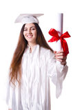Graduate girl with diploma  isolated Royalty Free Stock Images