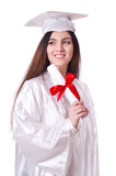 Graduate girl with diploma  isolated Stock Image