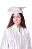 Graduate girl with diploma  isolated Royalty Free Stock Photos