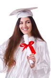 Graduate girl with diploma  isolated Stock Images