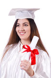 Graduate girl with diploma  isolated Royalty Free Stock Photography