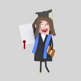 Graduate girl  with diploma paper Royalty Free Stock Images