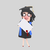 Graduate girl  with diploma paper Royalty Free Stock Image