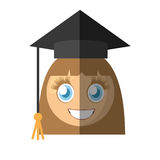 Graduate girl emoticon cartoon Stock Image