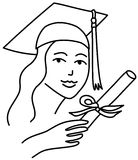 Graduate girl line drawing Stock Images