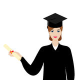 Graduate girl in the mantle keeps graduation diploma in hand Stock Images