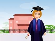 Graduate girl at school Royalty Free Stock Image