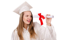 Graduate girl solated Stock Photo