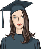 Graduate girl. Vector illustration of graduate girl. Easy-edit layered vector EPS10 file scalable to any size without quality loss Stock Images