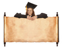 Graduate girl with vintage blank Royalty Free Stock Image