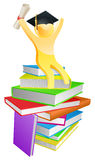 Graduate gold person and books Stock Photo