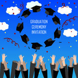 Graduate Hands Throwing Up Graduation Hats. Graduation Background. Graduation Caps in the Air. Stock Image
