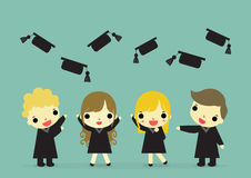 Graduate happy emotion and hat. Four graduate standup with happy emotion and floating hat Royalty Free Stock Photography
