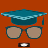 Graduate hat and glasses with diopters. Stock Photos