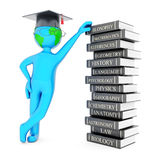 Graduate hat and globe. On white background Royalty Free Stock Images