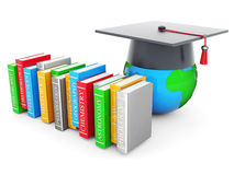 Graduate hat and globe. On white background Royalty Free Stock Photos