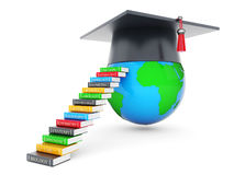 Graduate hat and globe. On white background Stock Photos