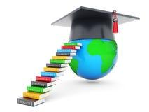 Graduate hat and globe Stock Photos