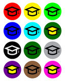 Graduate Hat Icon Collection Stock Photo