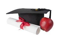 Free Graduate Hat, Red; Apple And Paper Scroll Stock Image - 75476071