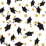 Graduate hat seamless pattern Royalty Free Stock Image