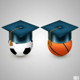 Graduate hat and sport Royalty Free Stock Photo