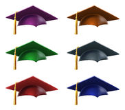 Graduate hats or caps Stock Photography