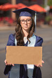 Graduate Holding Blank Sign Stock Photos