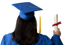 Graduate Holding Diploma Seen From Behind. A graduate in a blue cap and gown holding diploma with red ribbon seen from behind.  Isolated on white Stock Photography
