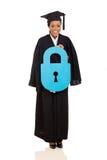 Graduate holding lock symbol Stock Image