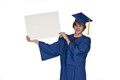 Graduate holding sign Stock Image