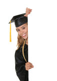 Graduate Holding Sign Stock Photo