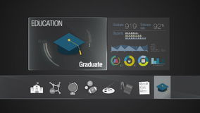 Graduate icon for Education contents.Digital display application. Education icon set animation stock footage