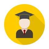 Graduate icon with long shadow Royalty Free Stock Photo