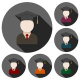 Graduate icons set with long shadow Royalty Free Stock Image
