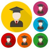 Graduate icons set with long shadow Royalty Free Stock Photo