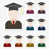 Graduate icons stickers set Stock Images