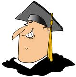 Graduate. This illustration depicts a man wearing a mortar board with a gold tassel Stock Images