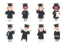 Graduate kids. Kindergarten preschool graduating children in graduation cap with diploma vector cartoon characters vector illustration