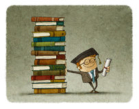 Graduate leaning on a stack of books. With a certificate in hand Stock Photo