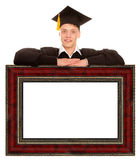 Graduate man with frame Royalty Free Stock Images